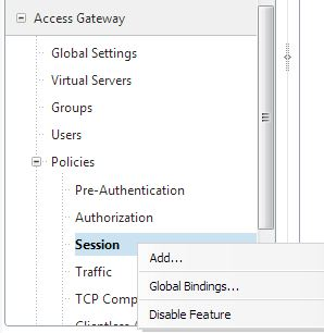 Citrix Native Receiver policy for Netscaler Access Gateway