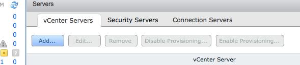 Connection Server vCentre Add