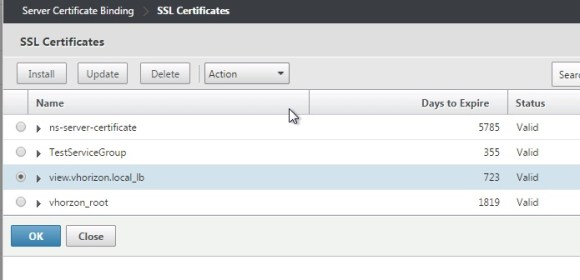 View NetScaler SSL