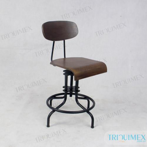 Ghế sắt ốp gỗ phong cách cổ điển vintage retro