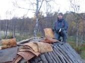 Puis pose de l'écorce de bois