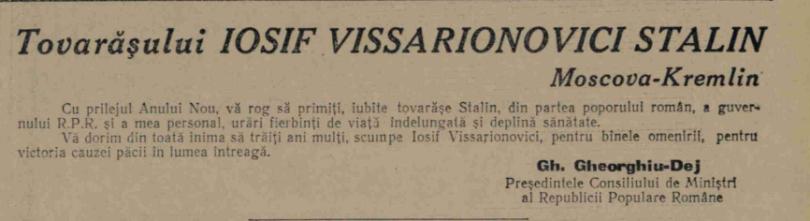 """""""Scânteia"""", 31 decembrie 1952."""