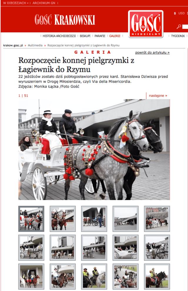 Rozpoczęcie konnej pielgrzymki z Łagiewnik do Rzymu