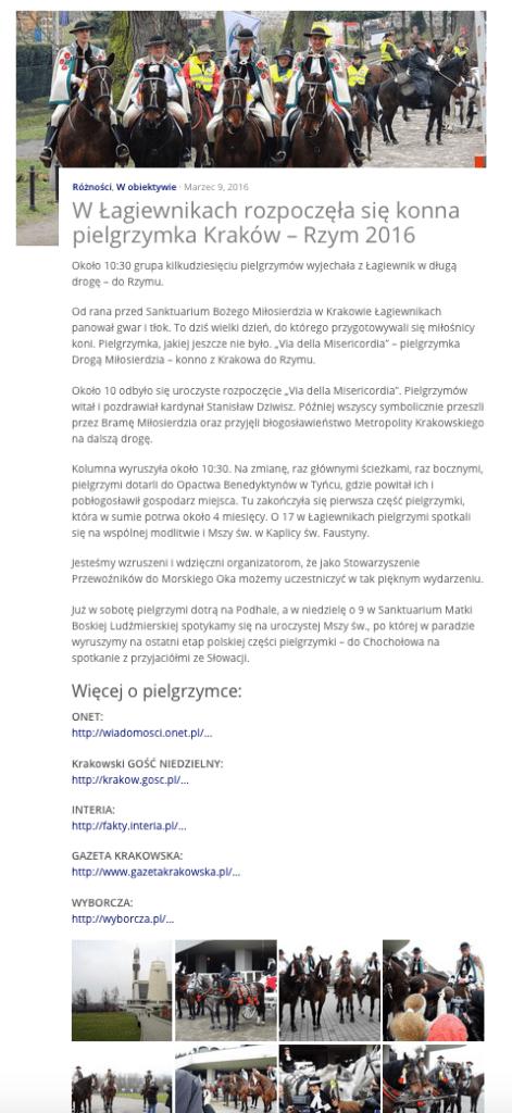 W Łagiewnikach rozpoczęła się konna pielgrzymka Kraków – Rzym 2016