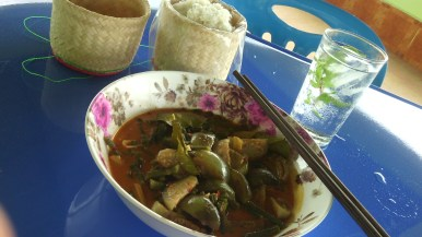 Red curry with sticky rice