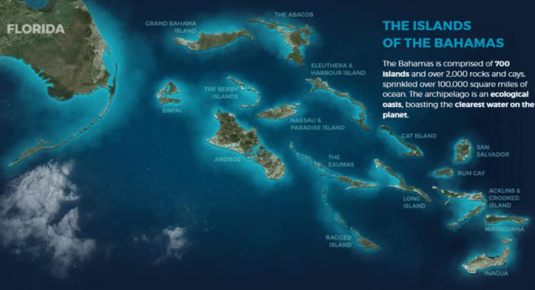 Mapa com as principais ilhas das Bahamas. Reprodução Bahamas.com