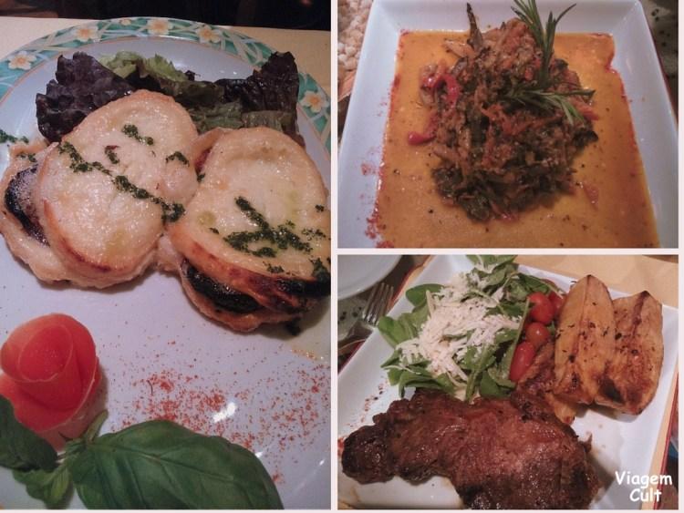 Do lado esquerdo o queijo de cabra; em cima, o prato de coelho; do lado direito, filé argentino