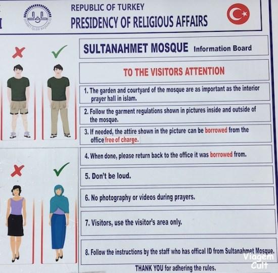 regras mesquita sultanahmet