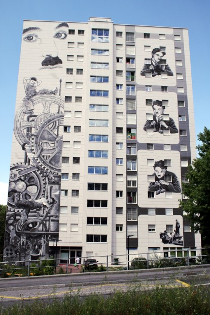 Edifícios grafitados de Vevey, na Suíça (foto: Eduardo Vessoni)