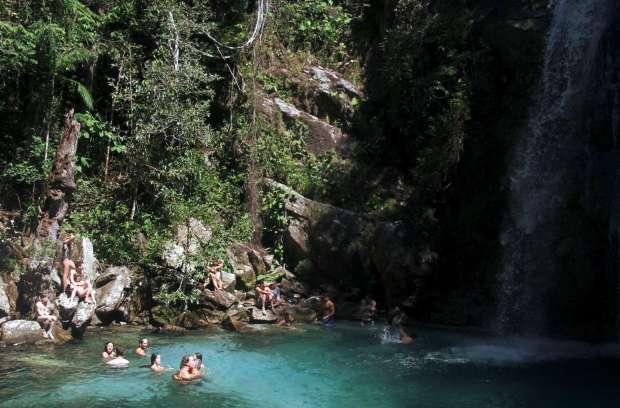 Cachoeira de Santa Bárbara, em Cavalcante (foto: Eduardo Vessoni)