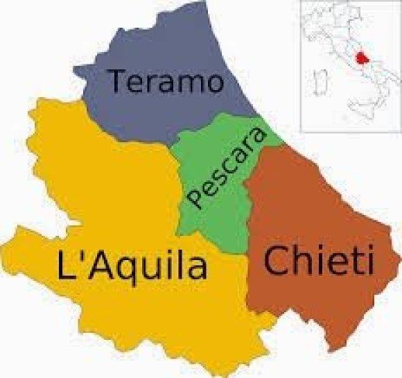 Mapa da Itália com todas as regiões. Abruzo (Abruzzo)