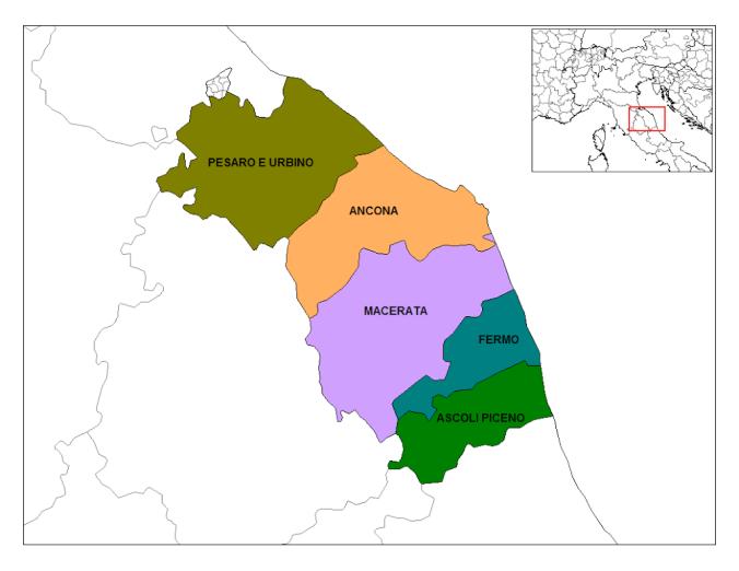 Mapa da Itália com todas as regiões. Marche