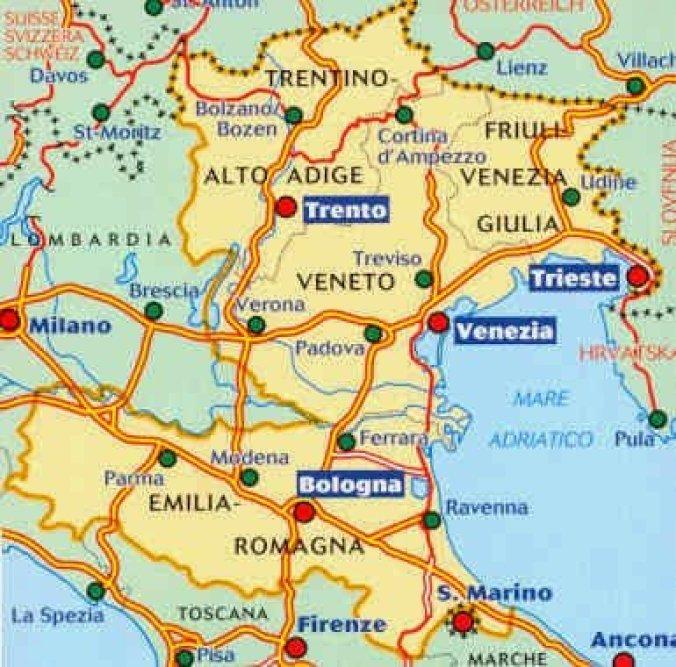 Mapa da Itália com todas as regiões. Nordeste italiano