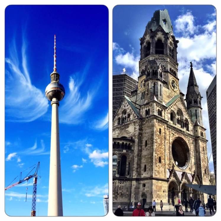 A Torre da Televisão (Berliner Fernsehturm) e a Igreja destruída (Kaiser Wilhelm).