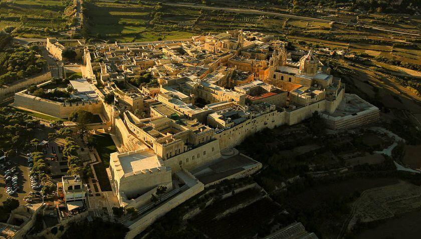 Panorama dall'alto della città di Mdina a Malta