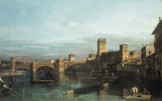 Bernardo Bellotto, Veduta di Verona, con Castelvecchio da monte del Ponte scaligero, 1745 circa