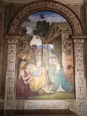 Santa Maria del Popolo, Cappella di San Girolamo, Vergine in adorazione del Bambino con i pastori e san Girolamo