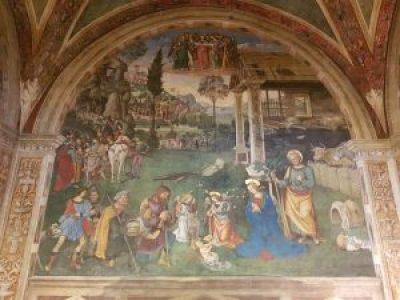 Pinturicchio, L'adorazione dei pastori e l'arrivo dei Magi