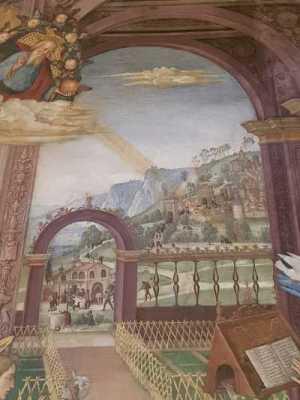 Pinturicchio, Annunciazione - dettaglio rappresentante il borgo di Spello