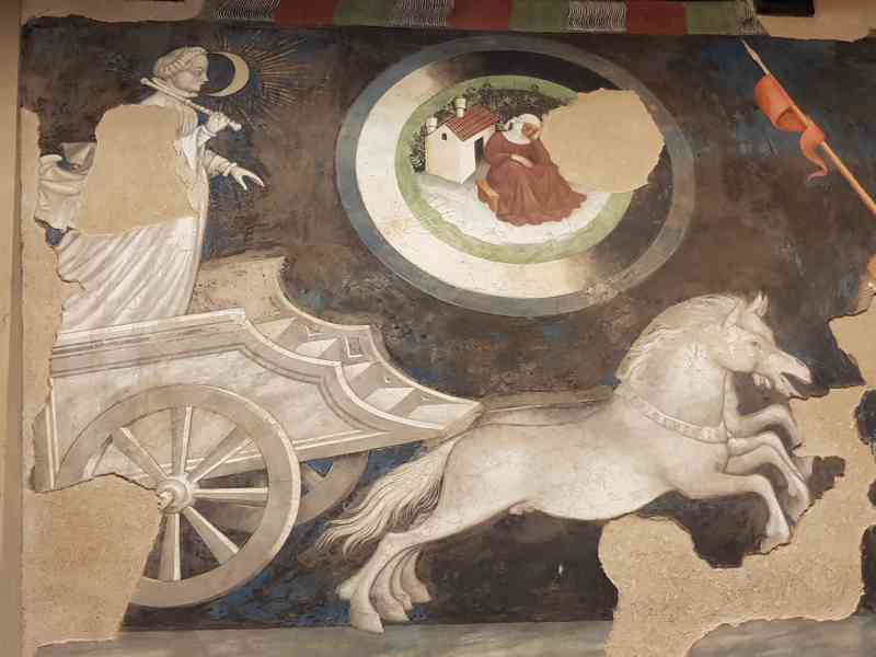 Gentile da Fabriano, Sala delle arti liberali e dei pianeti di Palazzo Trinci a Foligno, dettaglio della Luna