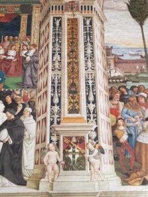 Dettaglio della finta partitura architettonica decorata a grottesche