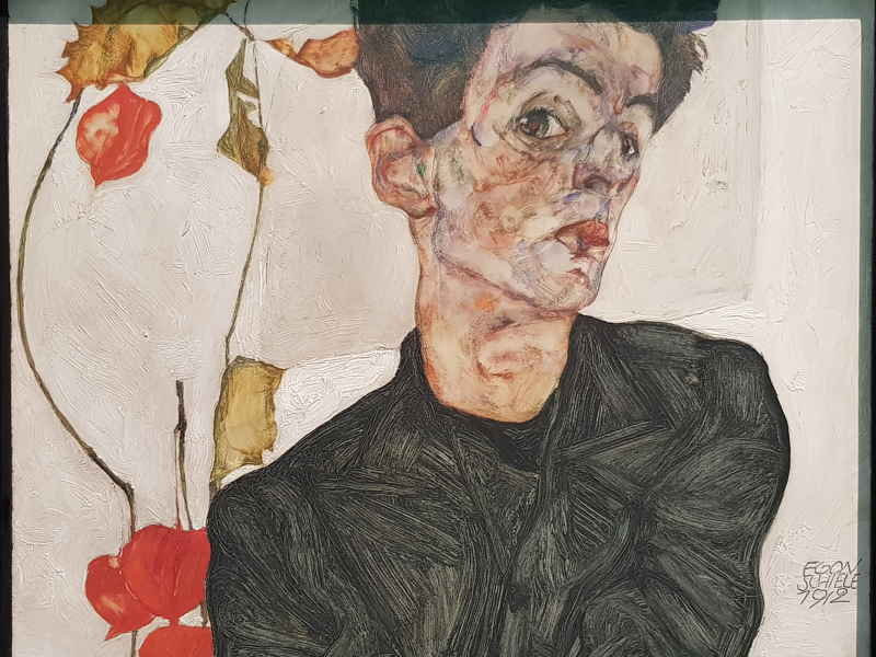 Egon Schiele, Self-portrait with chinese lantern plant