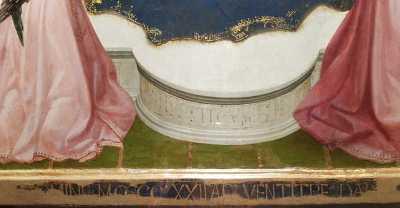Masaccio, Trittico di San Giovenale, dettaglio dell'iscrizione