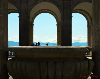 Scorcio sul terrazzo dell'abbazia di montecassino: luogo imperdibile se si visitano i dintorni di gaeta.