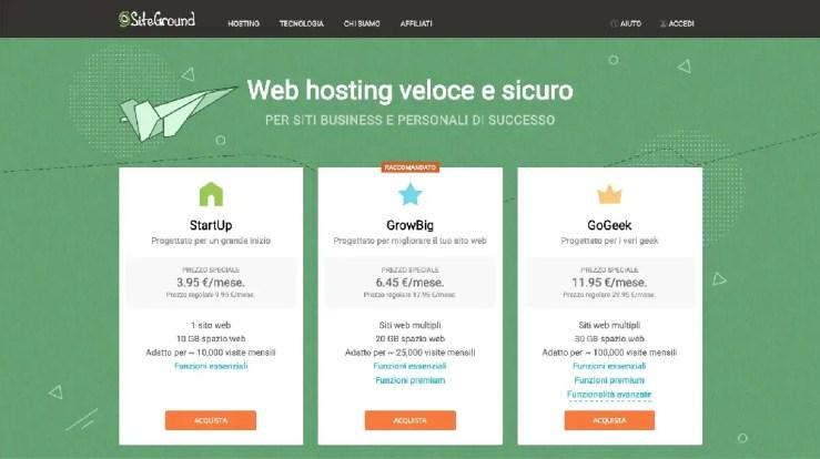 tariffe per usare siteground come hosting per aprire un blog di viaggi