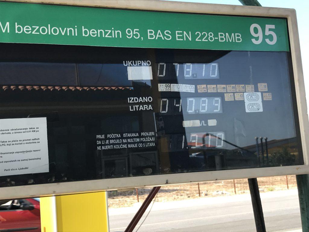Prezzi della benzina in Bosnia