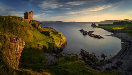 Gylen Castle and Port a'Chaisteil in sunset light, Isle of Kerrera, Scotland