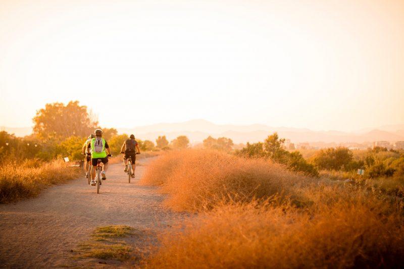 Bici su strada bianca in cammino verso Santiago