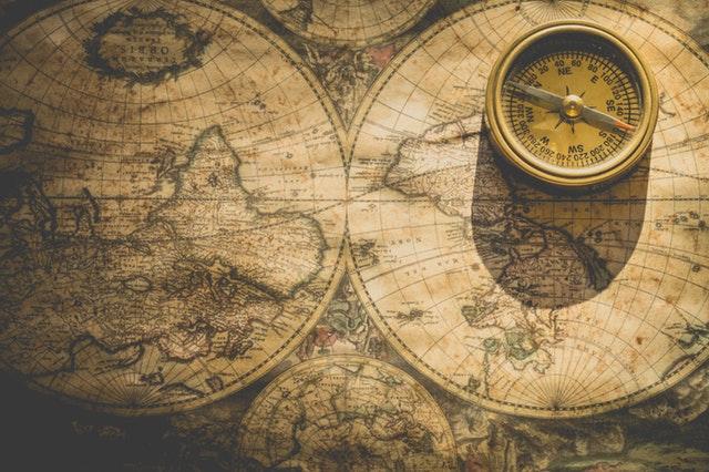 mappa antica del giro del mondo