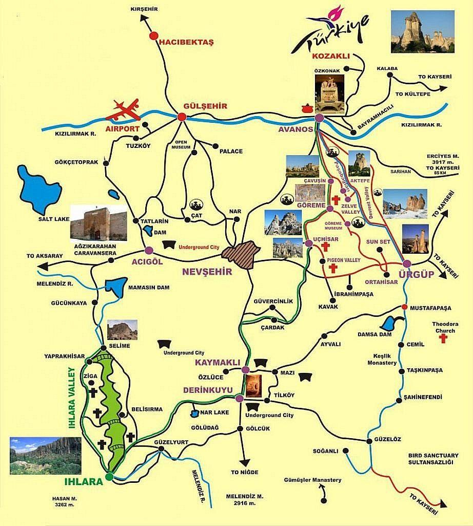 mappa della cappadocia