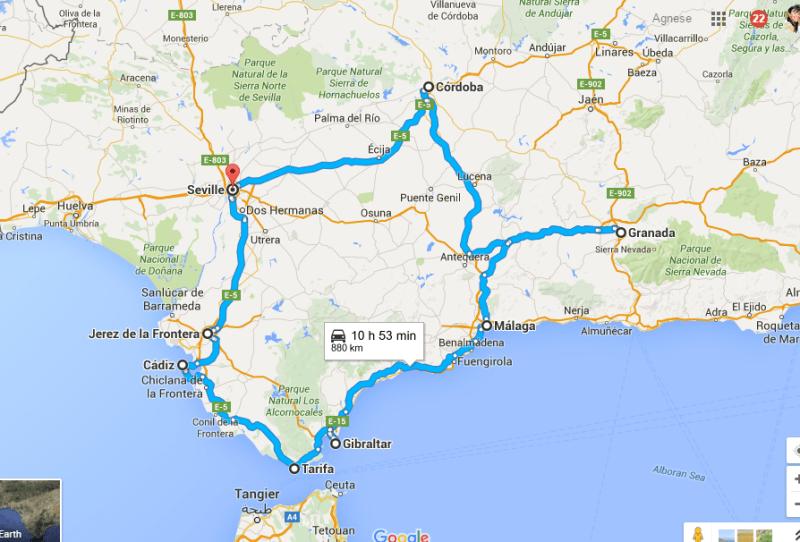 itinerario tour andalusia 10 giorni