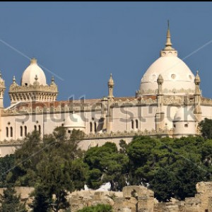 carthage-byrsa-hill-saint-louis-cathedral-seen-from-the-punic-ports-below-ruins