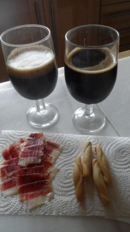 Jamón Ibérico de Bellota con Cerveza negra Domus