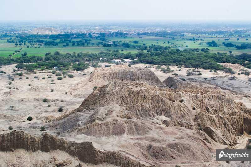 A lo lejos, las pirámides de Túcume.
