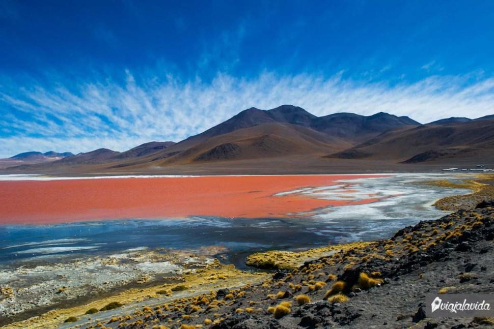 Laguna Colorada, conocida también como laguna rosada.