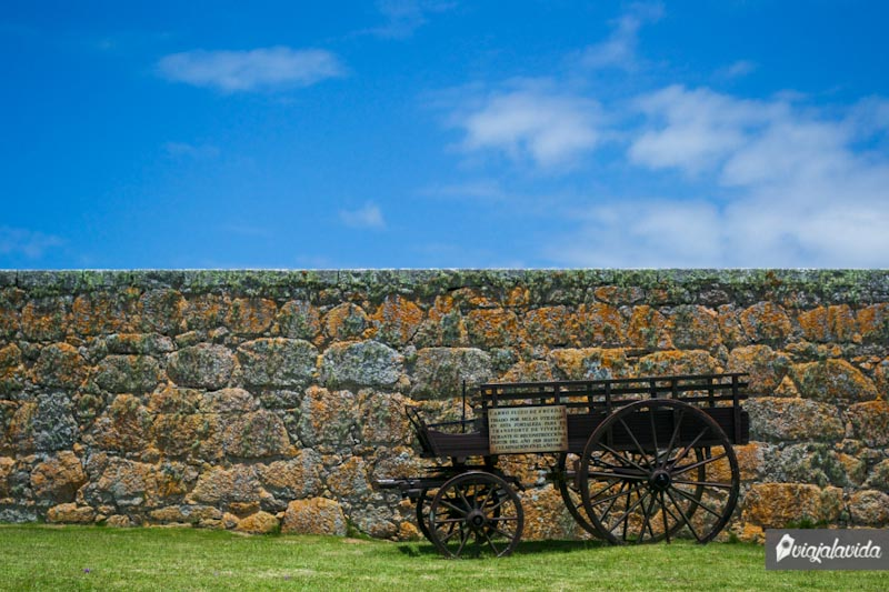 Antiguo carro suizo en la fortaleza.