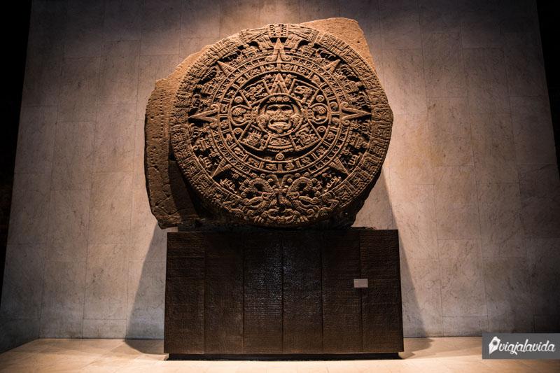 Piedra del Sol, en museo de Ciudad de México.