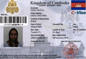 Visto de entrada para o Cambodja.
