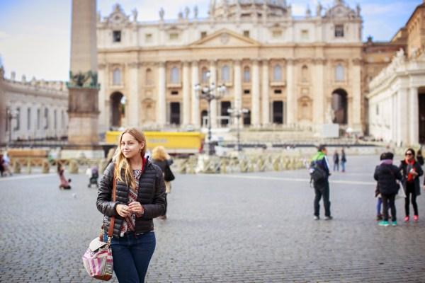 O primeiro lugar que visitamos em Roma: o Vaticano! Foto: Emanuelle Rigoni