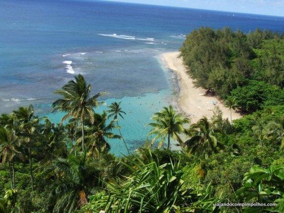Ke'e Beach vista da trilha Kalalau Trail, Kauai, Hawaii