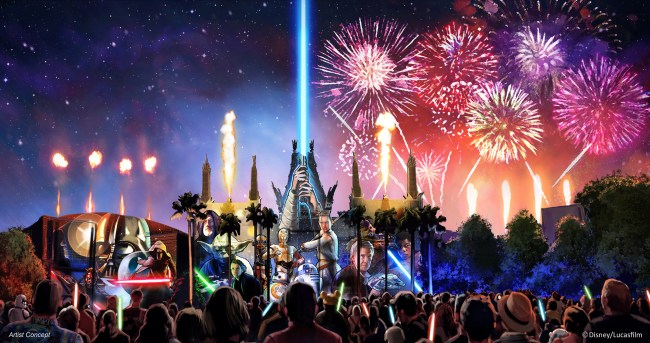 "Starting in summer 2016, a new Star Wars fireworks show, ""Star Wars: A Galactic Spectacular,"" will debut to guests at Disney's Hollywood Studios. The nightly show will combine fireworks, pyrotechnics, special effects and video projections that will turn the nearby Chinese Theater and other buildings into the twin suns of Tatooine, a field of battle droids, the trench of the Death Star, Starkiller Base and other Star Wars destinations. The show also will feature a tower of fire and spotlight beams, creating massive lightsabers in the sky. (Disney/Lucasfilm)"