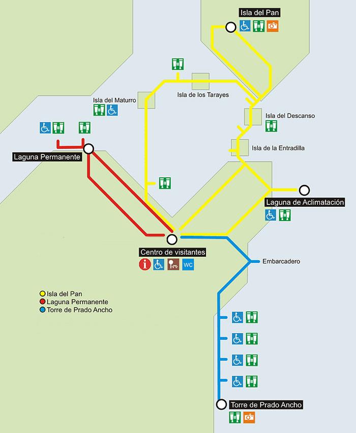Mapa del Parque Nacional de Las Tablas de Daimiel