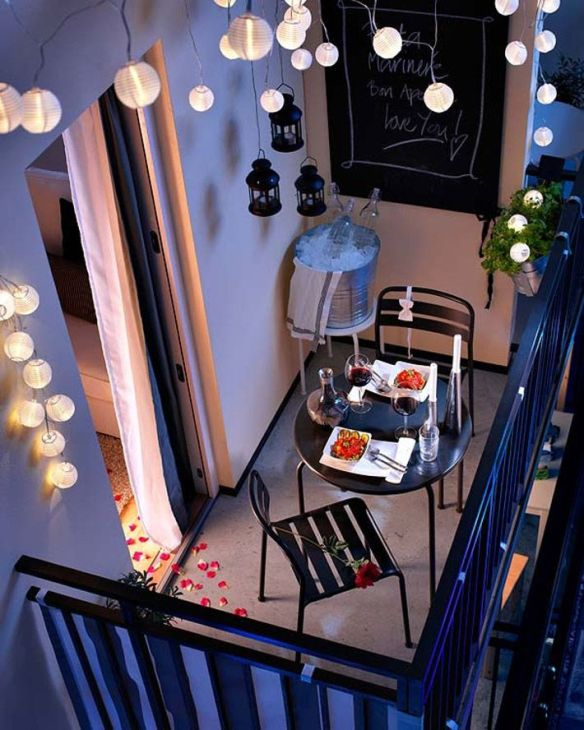 decoração romântica lanternas varanda
