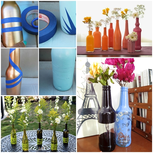 arranjo de flores com garrafas como decorar garrafas 3