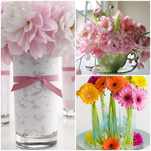 arranjo de flores copos e xicaras