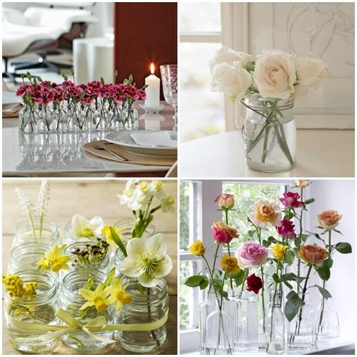 arranjo de flores potes frascos de vidro